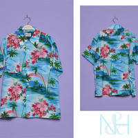 Vintage 1970s Blue and Pink Floral Tropical Unisex Button-up with Chest Pockets