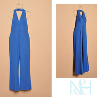 Vintage 1970s Blue Halter Jumpsuit with Wide Legs