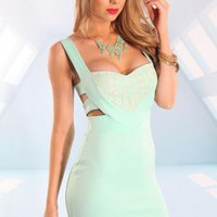 Mint Sweetheart Dress with Mesh Leopard Pint&amp;Cutout Back