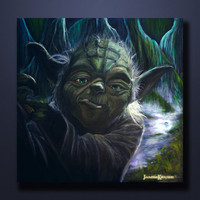 ORIGINAL Yoda- Fine Art oil painting by James Kruse 24x24x2 Gallery stretched canvas