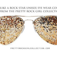 Gold Unisex GLITTER Aviator Sunglasses