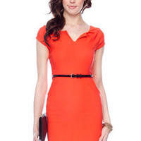 Split Neck Belted Dress in Orange :: tobi