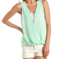 Lace &amp; Chiffon Surplice Tank: Charlotte Russe