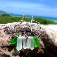 Hawaiian Aqua Blue, Emerald Green, and Clear Drop Beach Glass on 925 Sterling Silver Circular Wire Small Hoop Earrings