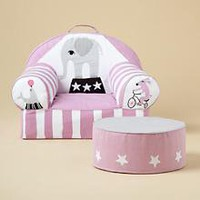 The Land of Nod | Kids&#x27; Personalized Seating: Kids Personalized Pink Circus Nod Chair in The Nod Chair