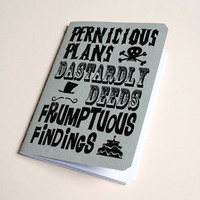 Handmade notebook Pernicious plans by purplecactusdesign on Etsy