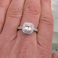 Asscher Cut White Sapphire in 14k White Gold Double Halo Engagement Ring Weddings Anniversary
