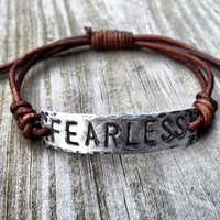 FEARLESS ID Bracelet, silver, leather, Hand Stamped, Inspirational jewelry, bracelet with words,