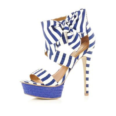 blue stripe bow sandals - heels - shoes / boots - women - River Island