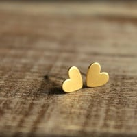 Itty Bitty Heart Earring Studs in Raw Brass by saffronandsaege