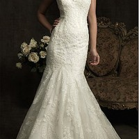 [422.48] Elegant Exquisite Tulle Mermaid V-neck Slightly Wedding Dress - Dressilyme.com