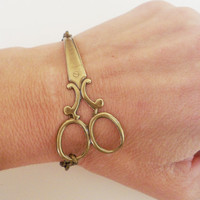 Steampunk Scissor Bracelet Antique Brass by bellamantra on Etsy