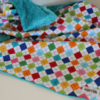 Baby Blanket, Bright Argyle Baby Blanket with Teal Minky