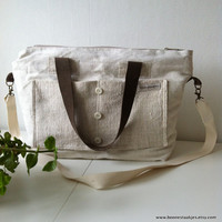 antique linen shoulder bag crossover bag by boonestaakjes on Etsy