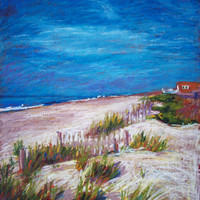 North Carolina Beach Painting, Framed Original Oil Pastel,  Emerald Isle Dunes