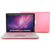Pink Rubberized-see-through Macbook Pro Hard Case Skin (For 13 Inches) - With Pink Protective Keyboard Cover