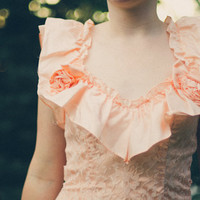 Vintage Tea-Length Peach Party Dress