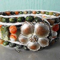 Rhyolite-Russian Jade-Autumn Jasper-Czech Glass 3 Row Leather Cuff
