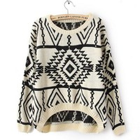 Long and Short In Front Geometry Long Sleeve Sweater