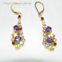 Multi Stone Peridot Citrine Garnet Amethyst Topaz Color Gem Earrings