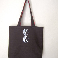 Tote Bag- sunglasses print on dark brown