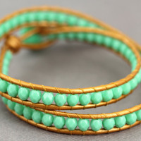 Wrap Bracelet : Teal and Bronze Lustre Bohemian Beaded Double Wrap with Marbled Shell Button, Rose Gold, Boho, Bohemian
