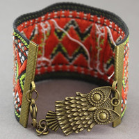 Aztec Cuff Bracelet with Owl Charm Accent : Bronze Owl Charm Bracelet, Aztec Fabric, Tribal Inspired, Bohemian