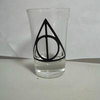Harry Potter Deathly Hallows Shot Glass by TheCraftyGeek86 on Etsy