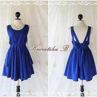 A Party V Shape - Prom Party Cocktail Bridesmaid Dinner Wedding Night Dress Deep Dark oyal Blue Sweet Gorgeous Glamorous Dress