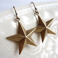 Star Earrings, Brass Stars, Dangle Earrings, Night Sky