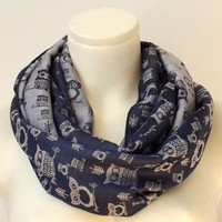 Owls of Spring Dark Blue Grey - Spring Fashion - Infinity Loop Circle Scarf