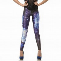Blue Galaxy Color Printing Leggings Pants