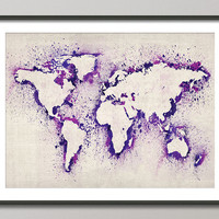 Map of the World Map Abstract Painting Art Print in Purple on Etsy