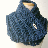 SALE Lace Hand Knit Cowl Scarf Navy Blue Ready by WindyCityKnits