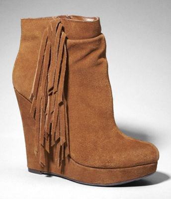 SUEDE FRINGED WEDGE BOOTIES