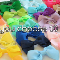 Classic Hairbows, You Choose 10, Simple Bows, 2.5 Inch Hairbows, Hair Clips, Custom Color, Back to School, Small Hair Clips
