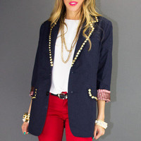 NALLA GOLD STUDDED NAVY BLAZER