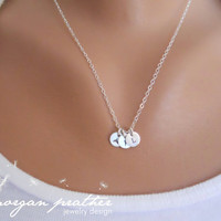 "Customized Sterling Silver Necklace - Hand Stamped 1/4"" Initial - Personalized Charm - Sterling Silver Fine Cable Chain - morganprather"