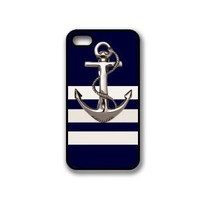 Navy Stripes Anchor iPhone 4 Case - Fits iPhone 4 & iPhone 4S