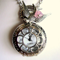 Pocket Watch Necklace with Bird Charm and Pink Flower by mktENGINEER
