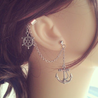 Nautical Ear Cuff - Earring Stud, Silver plated, Chain - No cartilage piercing needed!