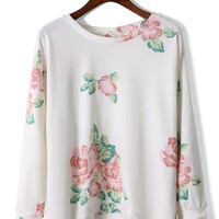 White High-Low Top with All Over Floral Pattern