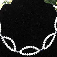 White Fresh water PEARL and SWAROVSKI crystal necklace 15.5 to 17.5 i