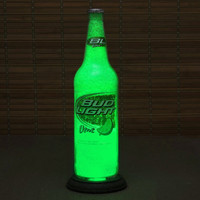 Bud Lime Beer Lamp / Big 22oz./ Lime Green Sparkle and Glow / St Paddys Day Glass Coating on Interior