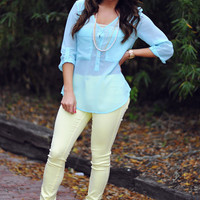 Bright As Can Be Blouse: Mint | Hope's