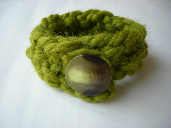 SALE Chunky Knit Bracelet Lemongrass by WindyCityKnits on Etsy