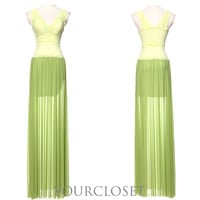 Elegant green lace evening dress from Your Closets