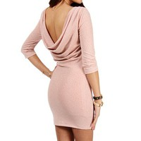 Mauve Glitter Cowl Back Dress