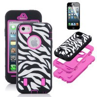 Amazon.com: Pandamimi ULAK Rose Pink White Zebra Combo Hard Soft High Impact iPhone 5 Armor Case Skin Gel with screen protector: Cell Phones &amp; Accessories