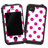 "Hot Pink Polka Dot on White ""Protective Decal Skin"" for LifeProof 4/4S Case"